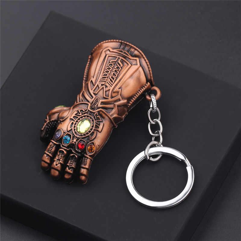 Os Vingadores Thanos 4 chaveiro Infinito Gauntlet Luva Chaveiro Movimento cadeia Chaveiro Chave Anel Chave Para O Presente Jóias porte clef