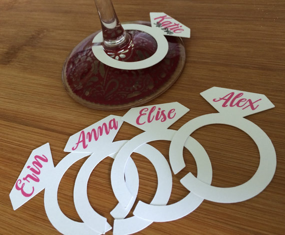 diamond ring wine glass markers wedding party decorations bridal shower bachelorette hens party table name cards