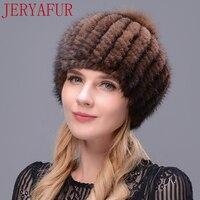 JERYAFUR True Natural Mink Fur Beret Hat Winter Woman S Ski Hat Oversized Fox Fur Ball