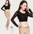 Summer  Women T-shirt Sexy Sheer Tops Mesh Top Long Sleeve Crop Top Tee Shirt Femme Solid Black White