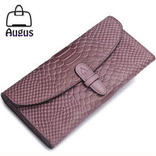 Alligator women wallets classic genuine leather clutches women purses high quality long wallets large capacity card holder 2016