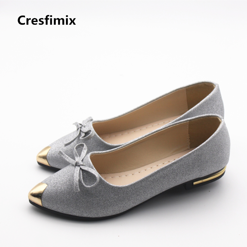 Cresfimix women casual spring and summer slip on flat shoes lady fashion silver & golden flats female pu leather shoes zapatos cresfimix zapatos de mujer women fashion pu leather slip on flat shoes female soft and comfortable black loafers lady shoes