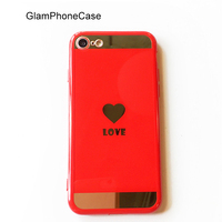Newest Heart Mirror Phone Case For IPhone 6 6s 7 Plus Funda Capa Plating LOVE Soft