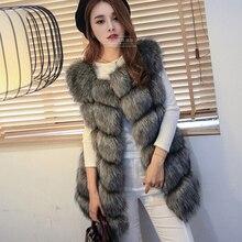 New 2017 Winter Coat Women Fox Fur Vest With a Pocket High-Grade Faux Leisure Plus Size 4XL Female Long
