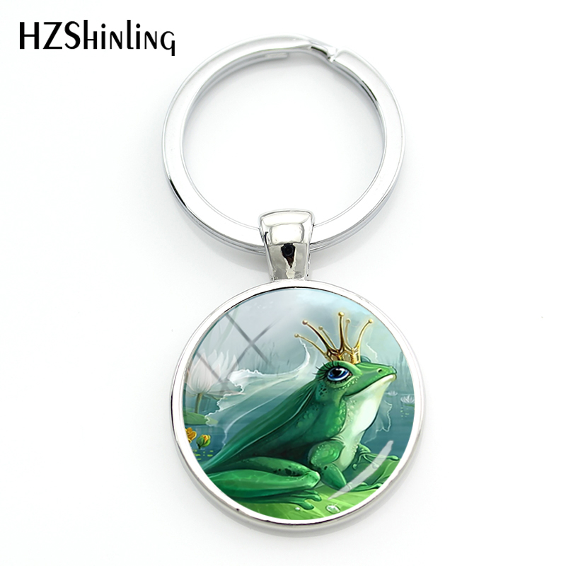 2018 Fashion The Frog  Keychain Fairy Tale Photo Keychains Children's Gifts Glass Dome Jewelry Sliver Round Keyring