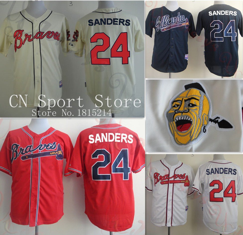 2015 Stitched  24 deion sanders atlanta braves baseball Jerseys Red white  blue cream shirt deion sanders jersey atlanta -in Baseball Jerseys from  Sports ... 66a9977d94b8