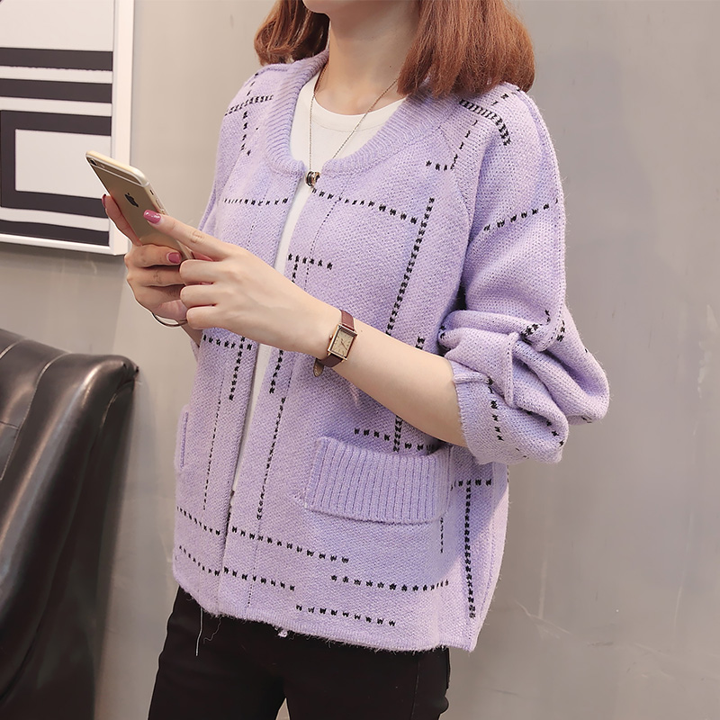 In 7753 (the hall 8 ranked no. 3) make the new color matching line round collar knitting cardigan 59