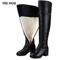 手数料ハグリアルレザー冬の女性のブーツ保つ暖かいオーバーザ膝ロングブーツ女