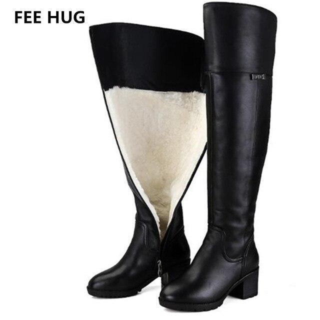 aa7d7f667 رسوم عناق حقيقي الجلود أحذية الشتاء المرأة الدفء الإفراط في الركبة أحذية  طويلة المرأة الفراء روسيا