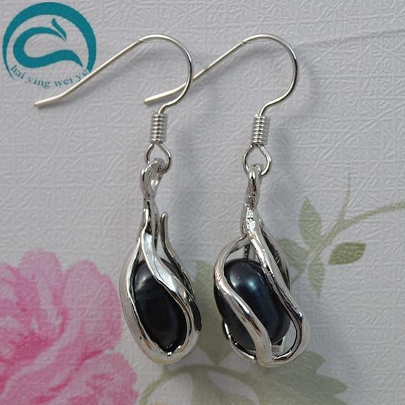 2018 Fashion Natural Freshwater Pearl Drop Earrings Hot Selling 925 Sterling Silver Jewelry Real Pearl Jewellery Fine Earrings