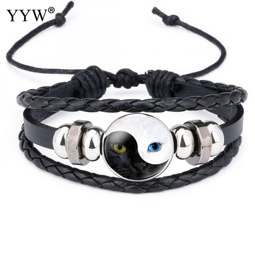 Braided Leather Bracelet Men yinyang Bracelet Homme Cuff Adjustable Punk Bracelet Wholesale Vintage Male Braid Jewelry for women