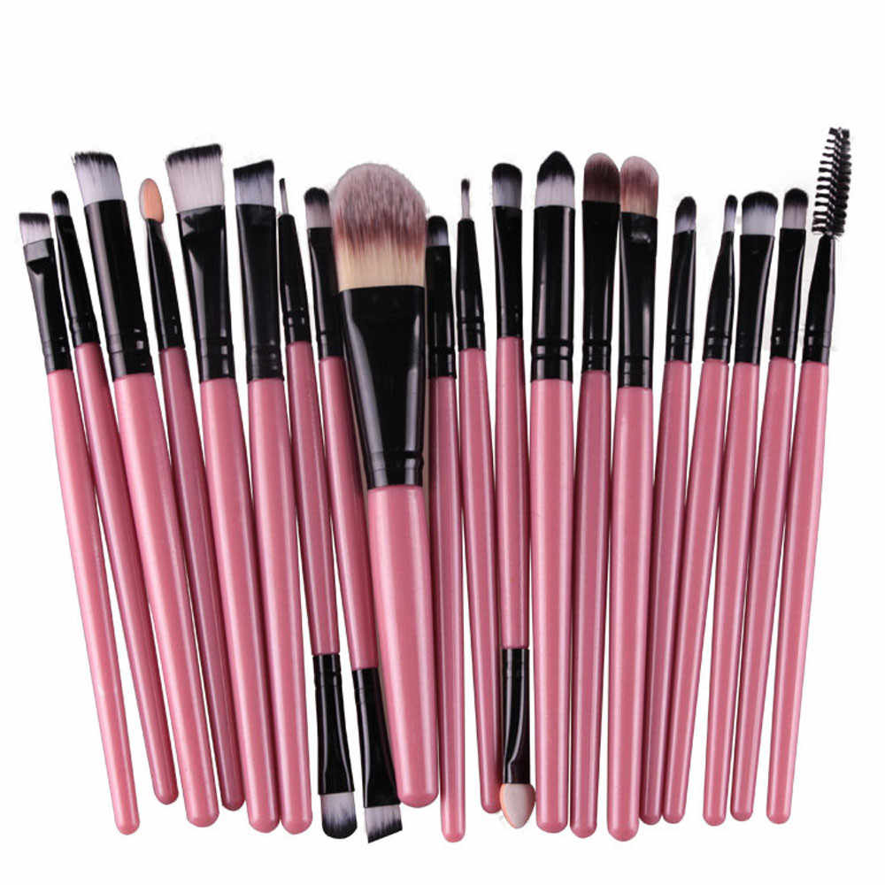 20pc Vrouwen Makeup Brush Set gereedschap Make-up Toilettas Kit Wol Make Up Brush Set Pro Blending Oogschaduw poeder Eye Foundation brush
