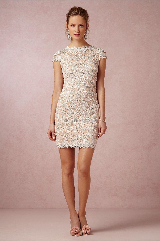 Noiva nuevo encaje cortos vestidos de novia boho elegante cap mangas ...