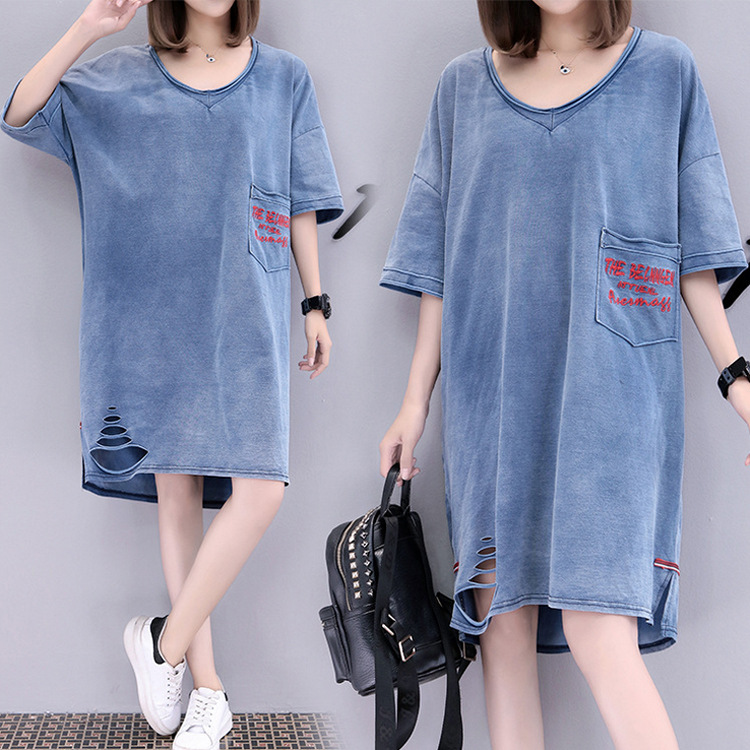Pregnant women autumn and winter cotton hole denim dress loose large size cowgirl dress