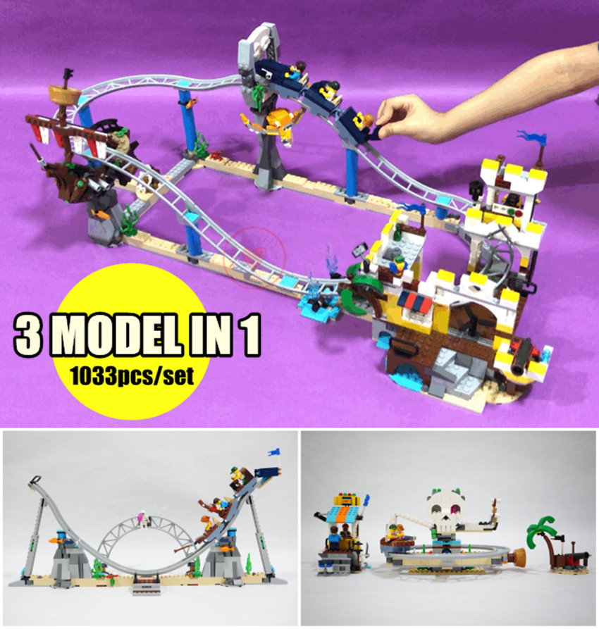 New Model 3 in 1 City the Pirate Roller Coaster fit legoings creator technic city Building Blocks Bricks 31084 Toys kid gift