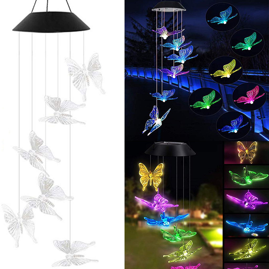 LED Solar Powered Butterfly Wind Chimes Light Home Garden Hanging Lamp Decor Transparent Butterfly Wind Chime Decor Light M50#