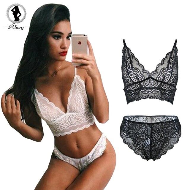 ALINRY sexy floral lace bra panty set women transparent push up seamless lingerie bralette wire free intimate underwear M-XXXL