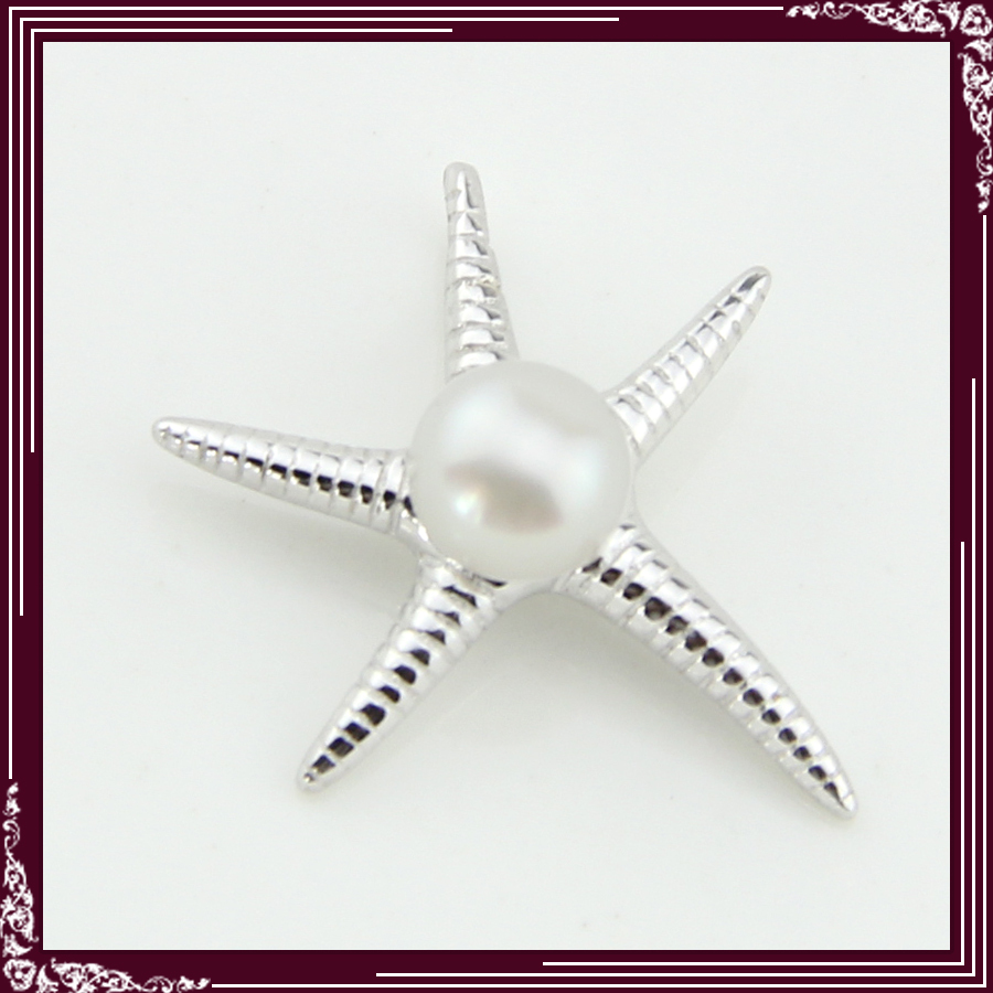FREE SHIPPING, Seastar Shape Sterling Silver Pearl Pendant