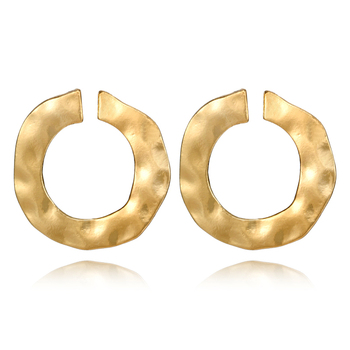 docona Vintage Gold Punk Twisted Round Stud Earrings for Women Irregular Curved Circle Studs Earring Statement Ear Brinco 5682
