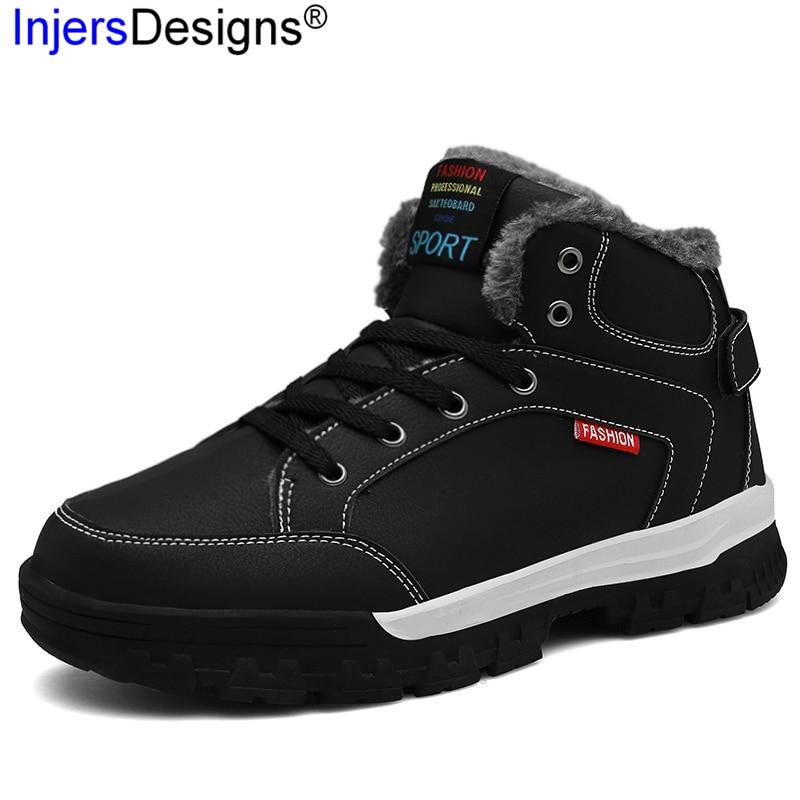 afda49d96e black2 brown1 Sapatos À Pele Inverno up Botas Ankle Boots Neve Hombre D'  Prova Homens Algodão ...