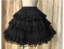 Женская многослойная кружевная Нижняя юбка Черная без капюшона