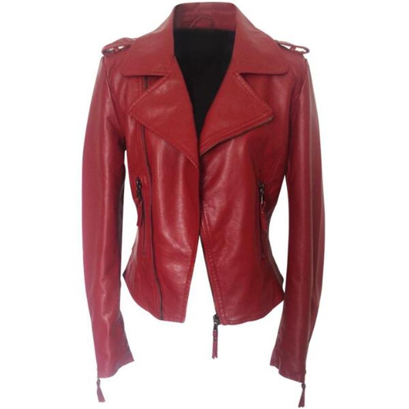 2017 Fashion Cropped Female Motorcycle Biker   Leather   Jacket Women Red Black Plus Size 4XL 46 48