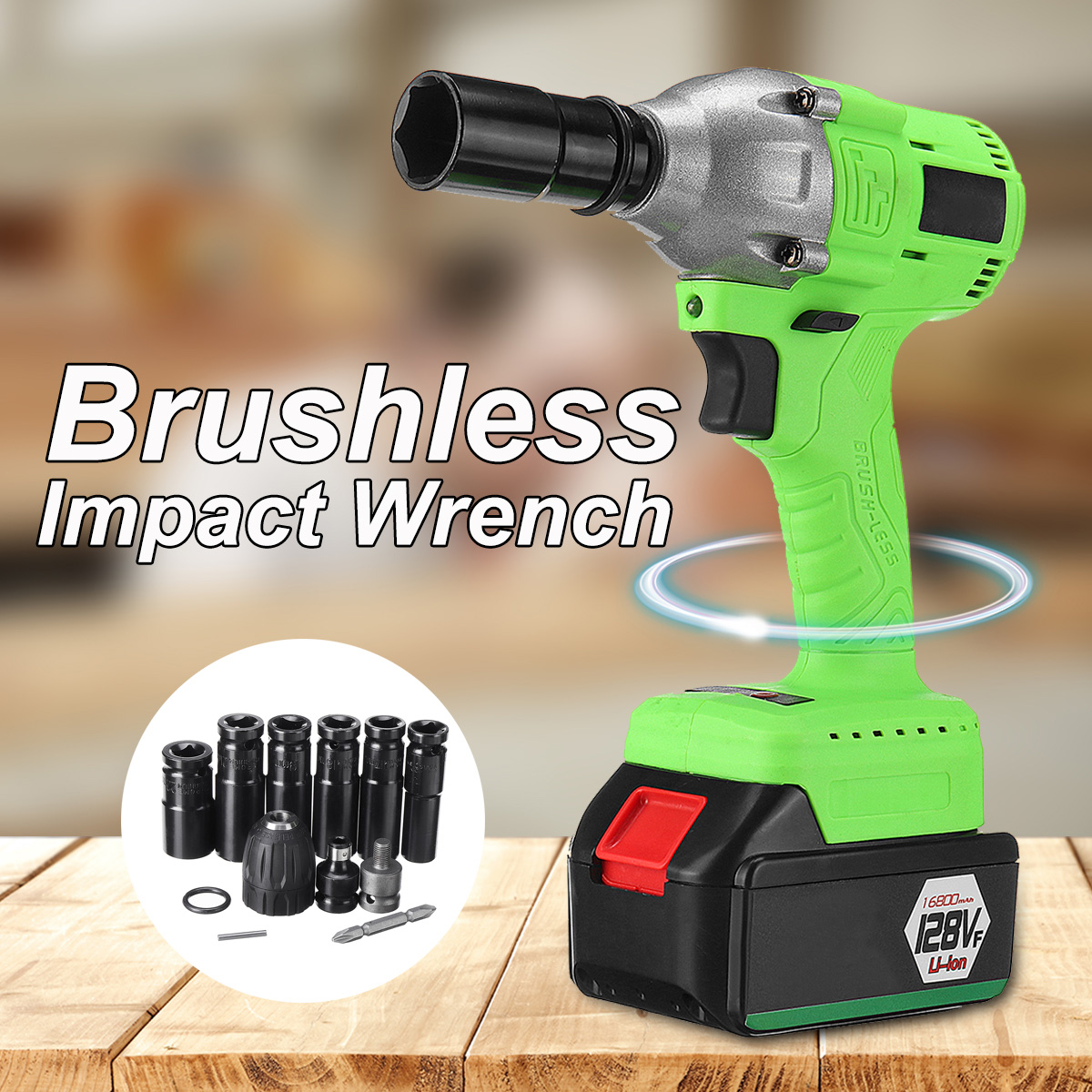 12800/16800/18800/21800mAh Electric Brushless Electric Wrench Li-Ion Battery Wrench Cordless Speed Control Wrench Power Tool electric impact wrench 98 128 168 188vf electric brushless li ion battery wrench 10mm chuk with box cordless speed control power