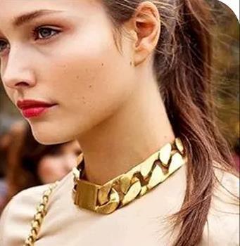 Omh винтажный панк толстый сплав цепочка звеньевая мужчины женщины унисекс чокеры ожерелье одежда аксессуары XL73