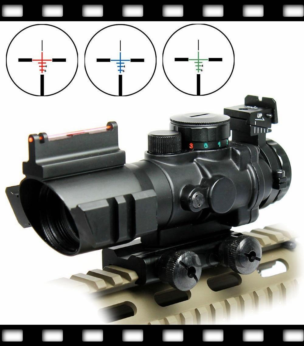 Shockproof 4X32 Reticle Illuminated RGB Prismatic Rifle Scope Optic For Hunting
