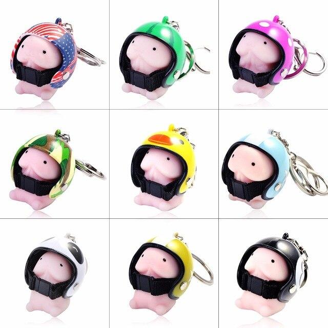Helmet small Tintin hat keychain cute Ding Ding pokemon key chain seals bag charm key spoof toys pom pom car bag key ring