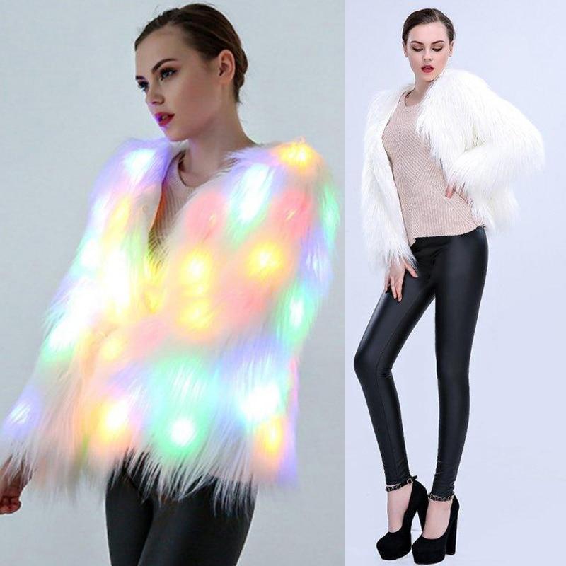 Women Faux Fur LED Light Coats Christmas Costumes Cosplay Fluffy Fur Jacket 6XL Outwear Winter Warm Festival Party Club Overcoat