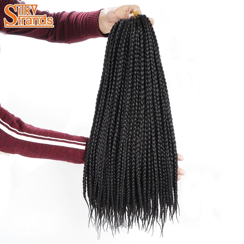 Silky Strands Medium Box Braids Crochet Hair Extensions Ombre Kanekalon Fiber Synthetic Braiding Hair Bulk Crochet Braids ...