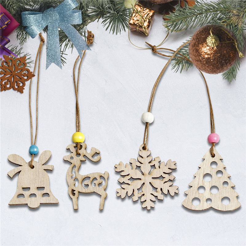 2pcs Wooden Christmas Tree Hanging Pendant Ornaments Christmas Navidad X-mas Tree Elk Decorative Hanging Drops Party DIY Decor