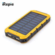 Portable 12000mAh Solar Power Bank Shockproof External Battery Universal Outdoor Powerbank for Cellphone