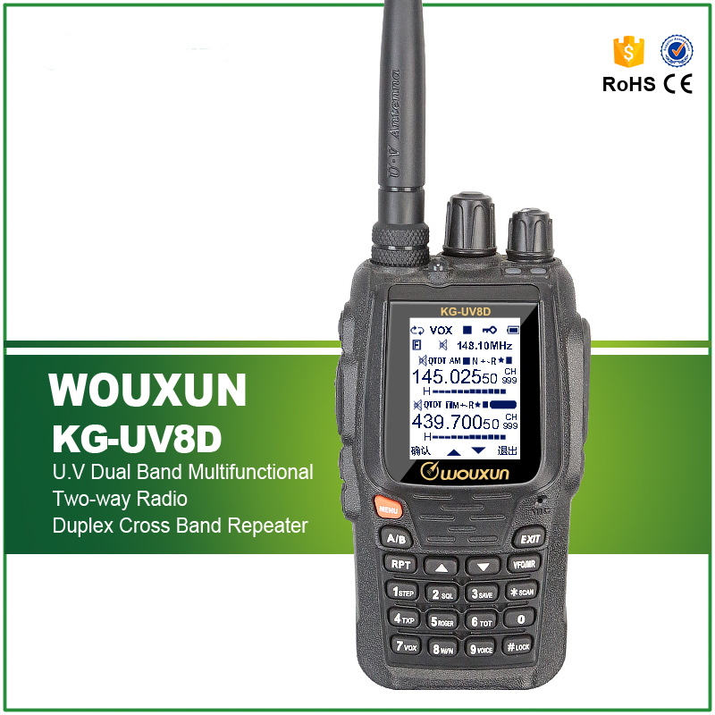 Penghantaran Percuma Duplex Cross Band Ulang VHF UHF Dual Band Original Wouxun KG-UV8D 2 Way Radio