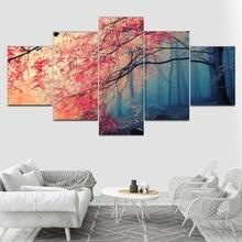 9d3c2bde300 Poster imprime lienzo de arte de pared moderno para sala de unidades estar  5 piezas flores de cerezo imágenes decoración árboles.