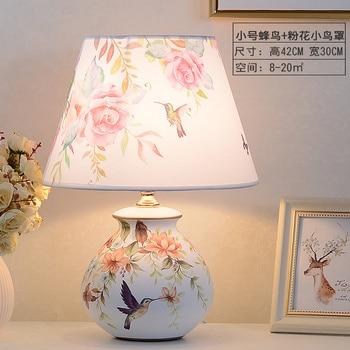 Chinese Ceramic Fabric Art Table Lamp Study Living Room Bedroom Bedside Lamp Home  Deco Rural Simple Desk Lamp Porcelain Lights