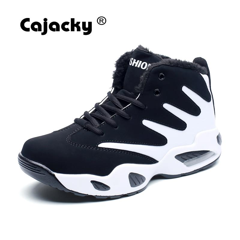 Cajacky Men Boots Ankle Autumn Warm Boots Unisex Fashion High Top Sneakers Male Winter Botas Hombre Fur Boots Snow Shoes Spring Men's Shoes Basic Boots