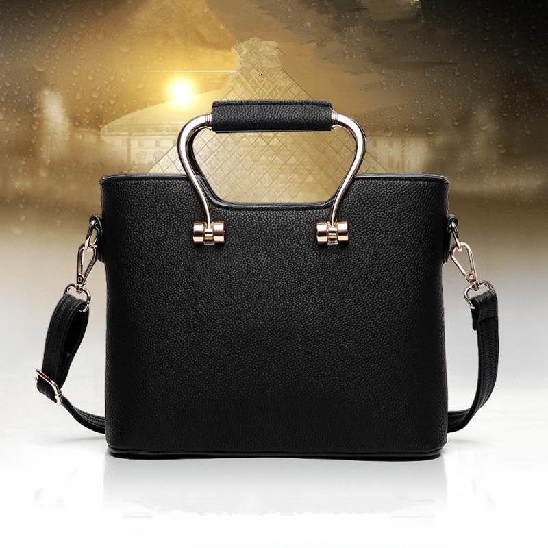 Élégant sac à main pour femme en polyuréthane bureau dame sac à main embrayage bandoulière haute qualité poignée en métal fermeture à glissière
