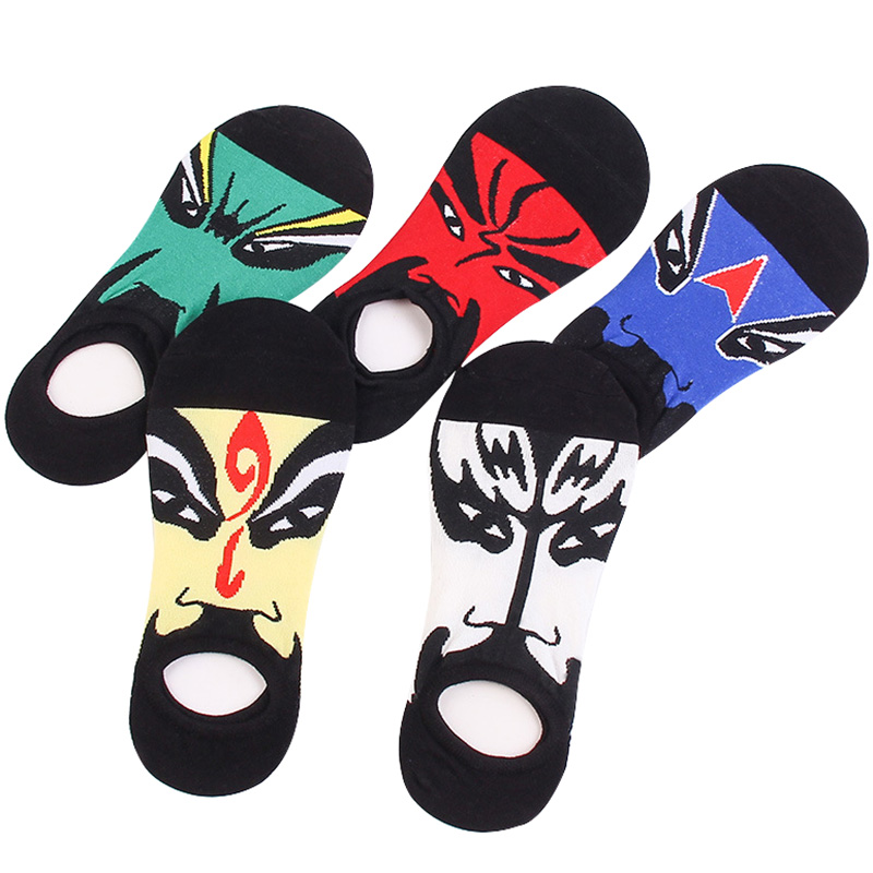 5pairs Mens Socks Summer Invisible Low Cut Man Boat Socks Chinese Style Opera Face Pattern Male Short Sock Funny Socks Meias Sox