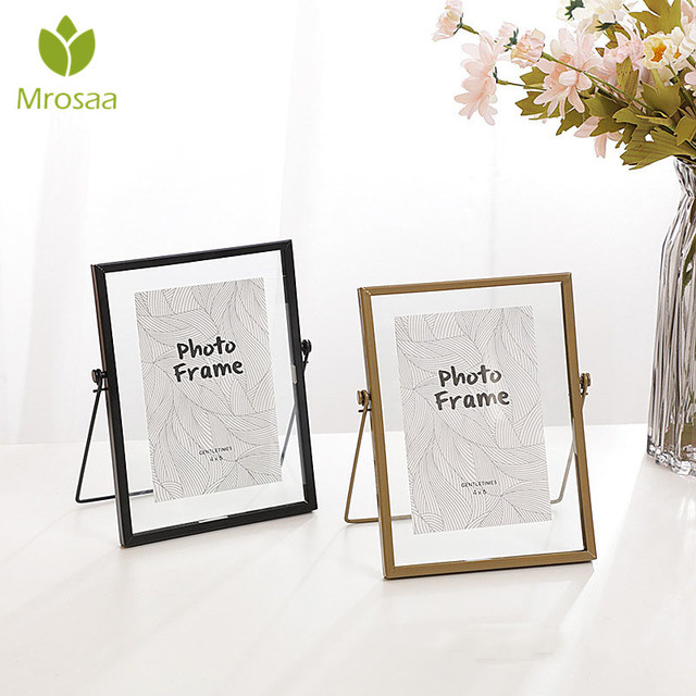 Mrosaa 6 Inch Set Table Nordic Minimalist Creative Modern Metal Glass Photo Frame Plant Specimen Folder Home Room Decorations