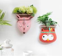 2018 New Wall Ornaments Cute Animal Flower Pot Wall Resin Vase Home Decorations Creative Design Green Plants Hanging Pot 05294(China)