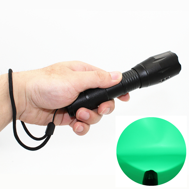 Hunting LED Flashlight Green Light Zoom Tactical Torch Long Distance Power  By 18650 Or AAA Battery