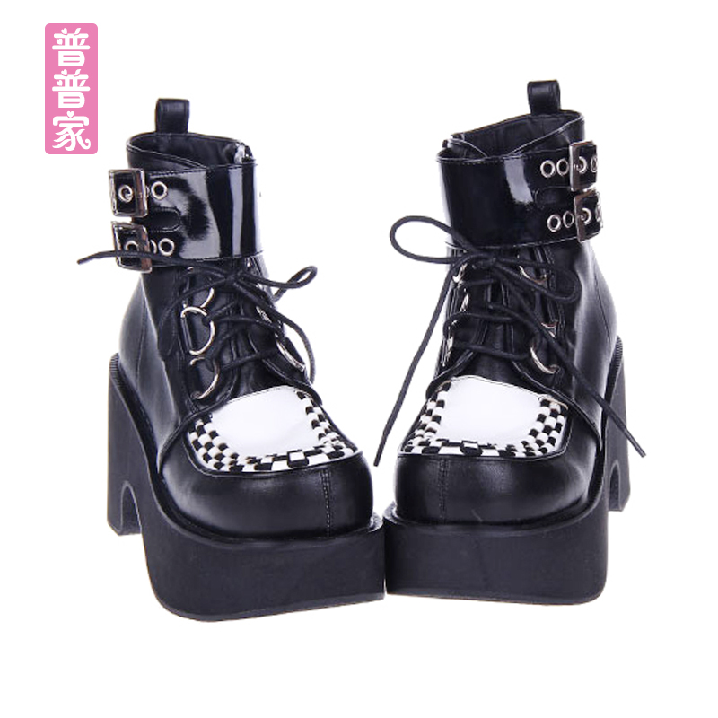 Princess sweet lolita shoes Japanese COS anime punk lace PU with thick bottom slope and sponge cake boots fashion women pu9710 [haotian vegetarian] antique copper straight handle antique furniture copper fittings copper handicrafts htc 041