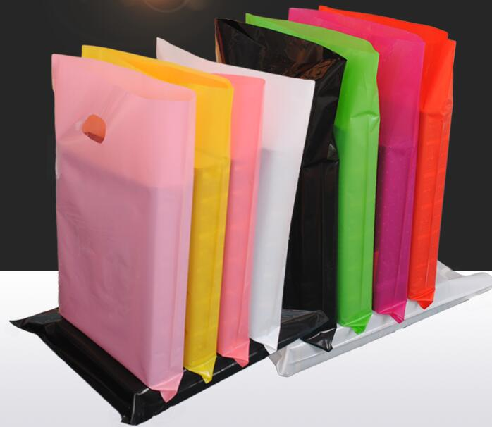 50pcs Colorful Large Plastic Shopping Bags with Handle, Festival gift bag package ( Custom Logo Order Accept MOQ 300pcs bags )