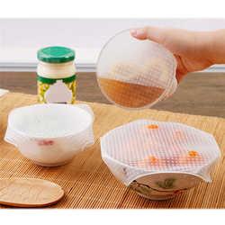 4 шт Силиконовая пищевая плёнка многоразовая печать сохранение продуктов в свежем состоянии Обёрточная бумага крышка стрейч вакуум Еда