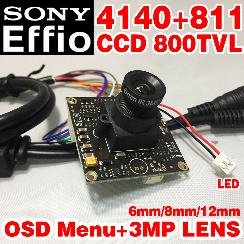 low illumination 1 3 sony ccd 700tvl with 3 6mm hd lens and audio function and osd function Countdown  Sale!6mm HD HD Camera Monito 1/3Sony Sensor CCD Effio-e 4140+811 800TVL OSD meun function CCTV board  Finished chip