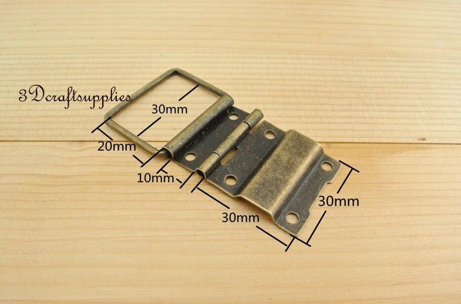 Металлические петли деревянная коробка сигар ювелирных изделий анти латунь 30 мм 12 шт. AT21