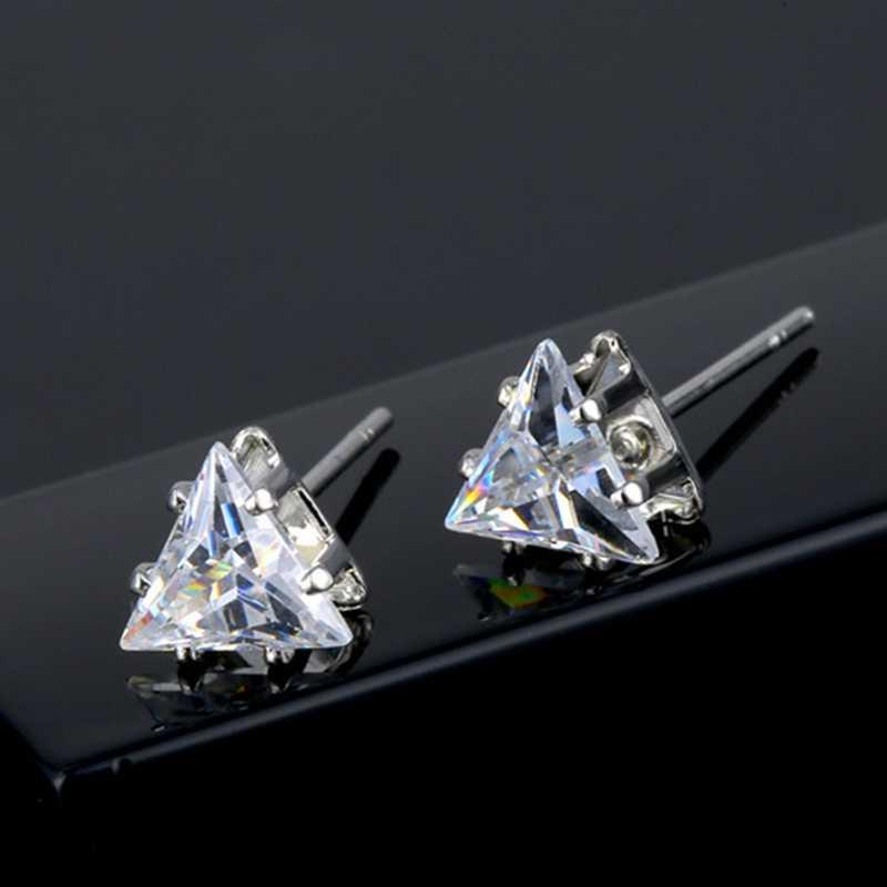 Mode CZ Kristall Dreieck Stud Ohrringe Für Frauen Mädchen Einfache 6mm Bunte Zirkon Stud Ohrring Brinco Ohr Schmuck