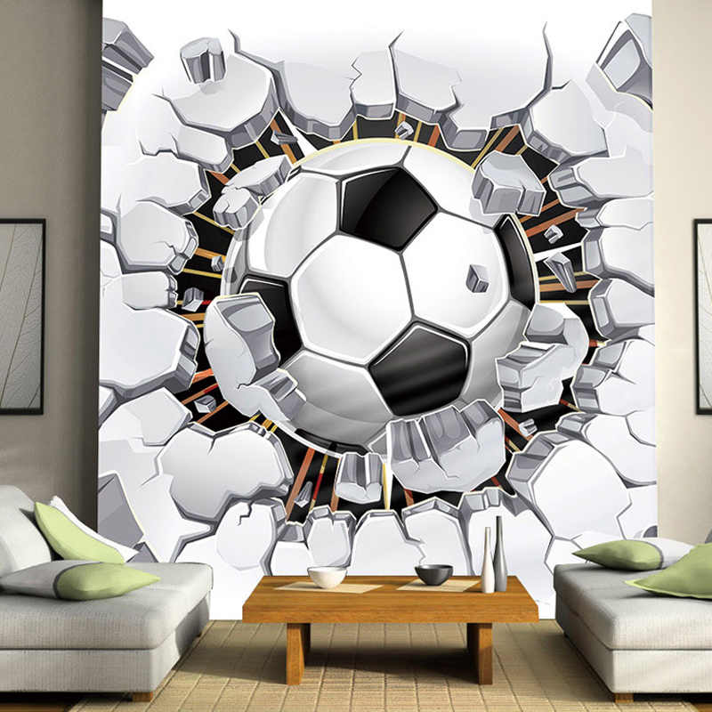 Custom Self-adhesive Mural Wall Stickers For Kids Rooms 3D Football Sport Photo Poster Wallpaper For Living Room Bedroom Wall